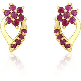 Mahi Gold Plated Blossom Drop Earrings With Ruby Stones