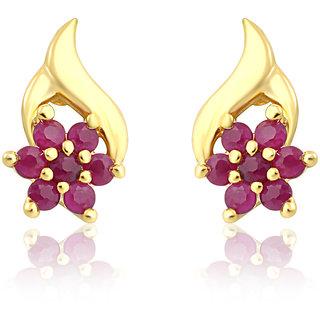 Mahi Gold Plated Stud Earring Red