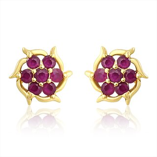 Mahi Gold Plated Forever Gleam Earrings With Ruby Stones