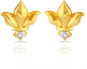 Mahi Gold Plated Royal Heraldry Stud Earrings With Crystal