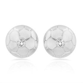 Mahi Rhodium Plated Football Stud Earrings With Crystal