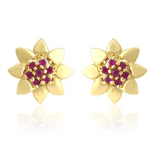 Mahi Gold Plated Sun Flower Earrings With Ruby Stones