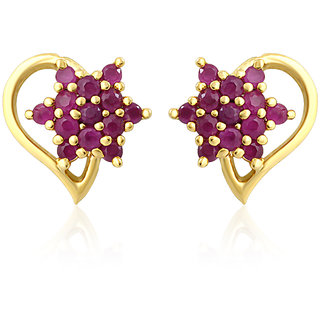 Mahi Gold Plated Pear Floret Earrings With Ruby Stones
