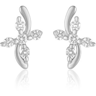 Mahi Rhodium Plated Endearing Rhodium Plated Curve Earrings With Cz