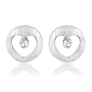 Mahi Rhodium Plated Heart Inside Circle Stud Earrings With Crystal