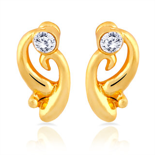 Mahi Gold Plated Curvy Delight Stud Earrings With Crystal