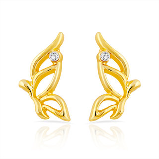 Mahi Gold Plated Cheerful Butterfly Stud Earrings With Crystal