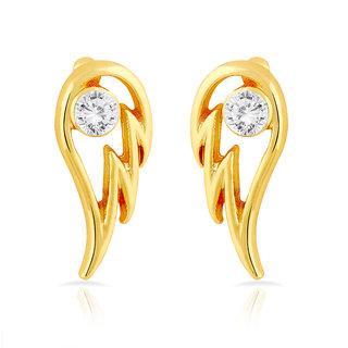 Mahi Gold Plated Angel Wings Stud Earrings With Crystal