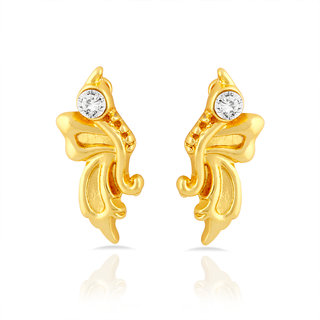 Mahi Gold Plated Butterfly Stud Earrings With Crystal