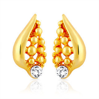 Mahi Gold Plated Shell Stud Earrings With Crystal