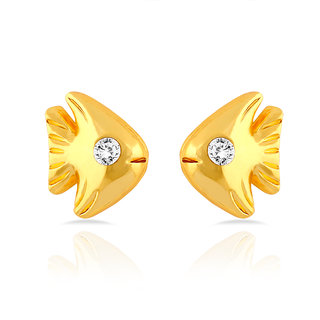Mahi Gold Plated Fish Stud Earrings With Crystal