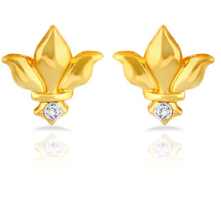 Mahi Gold Plated Royal Heraldry Stud Earrings With Crystal