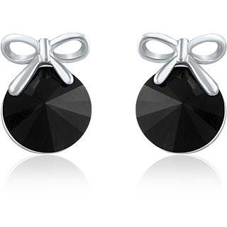 Mahi Swarovski Elements Rhodium Plated Black Stud Earrings