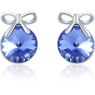 Mahi Swarovski Elements Rhodium Plated Blue Stud Earrings