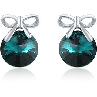 Mahi Swarovski Elements Rhodium Plated Green Stud Earrings
