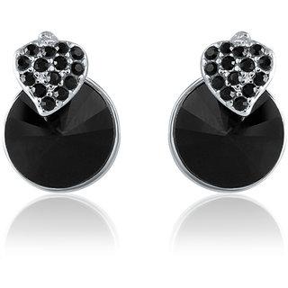 Mahi Made With Swarovski Elements Rhodium Plated Black Stud Earrings