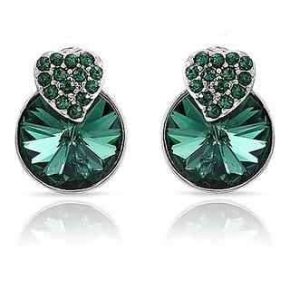 Mahi Made With Swarovski Elements Rhodium Plated Green Stud Earrings