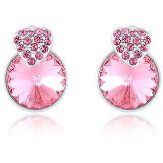Mahi Made With Swarovski Elements Rhodium Plated Pink Stud Earrings