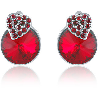 7842d13403579 Mahi Made With Swarovski Elements Rhodium Plated Red Stud Earrings