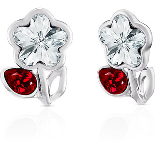 Mahi Rhodium Plated Red Drop And White Floral Earrings Made With Swarovski Elements
