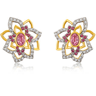 Mahi Gold Plated Pink Rose Flower Earrings Made With Swarovski Elements