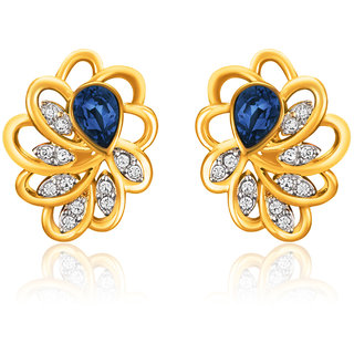 Mahi Gold Plated Blue Marigold Flower Earrings Made With Swarovski Elements
