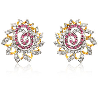 Mahi Gold Plated Pink Dahlia Flower Earrings Made With Swarovski Elements