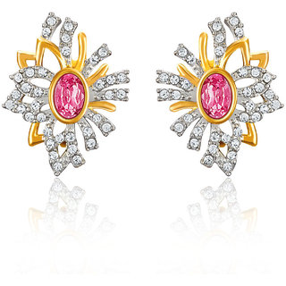 Mahi Gold Plated Pink Aster Flower Earrings Made With Swarovski Elements