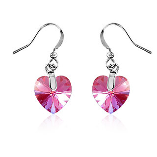 Mahi Rhodium Plated Tiny Pink Heart Swarovski Element Love For My Valentine Earring