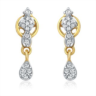 Mahi Gold Plated Love Lock Earrings With Crystal Stones
