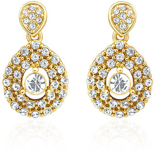 Oviya Gold Plated Evening Blush Earrings With Crystal