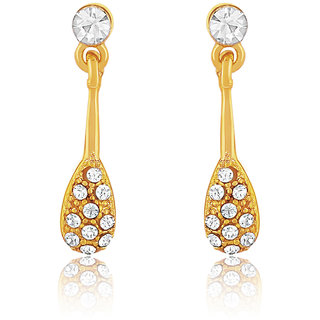Oviya Gold Plated Enduring Drop Earrings With Crystals