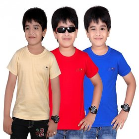 DONGLI SOLID BOY'S ROUND NECK T-SHIRT (PACK OF 3)DL450_RBLUE_BEIGE_RED