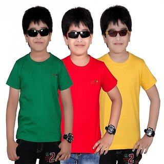 DONGLI SOLID BOY'S ROUND NECK T-SHIRT (PACK OF 3)DL450_RED_GYELLOW_GREEN