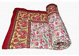 Krg Enterprises Blue Jaipuri Hand Made Block Print  Singal Bed Quilts  RCM3021