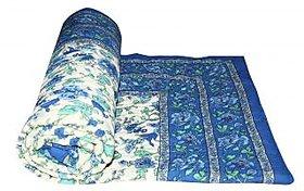 Krg Enterprises Blue Jaipuri Hand Made Block Print  Singal Bed Quilts  RCM3024