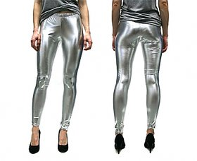 Stallions Stretchable silver legging wet look