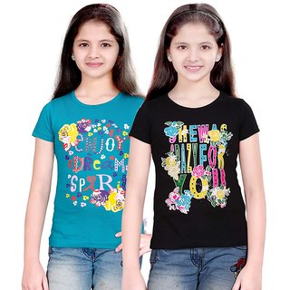 SINIMINI GIRLS FASHIONABLE TOP ( PACK OF 2 )SMH600_PETROL_BLACK