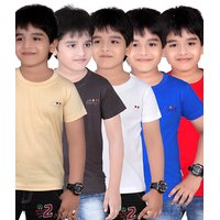 DONGLI SOLID BOY'S ROUND NECK T-SHIRT (PACK OF 5)DL450_BEIGE_DGREY_WHITE_RB_RED