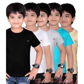 DONGLI SOLID BOY'S ROUND NECK T-SHIRT (PACK OF 5)DL450_BLACK_WHITE_WM_TB_BEIGE