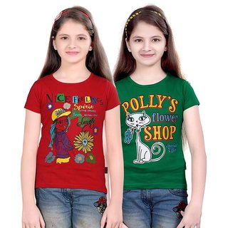 SINIMINI GIRLS FASHIONABLE TOP ( PACK OF 2 )SMH600_RED_GREEN