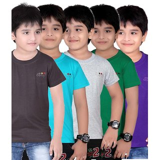 DONGLI SOLID BOY'S ROUND NECK T-SHIRT (PACK OF 5)DL450_DGREY_TB_GREEN_WM_PURPLE