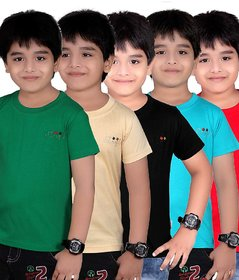 DONGLI SOLID BOY'S ROUND NECK T-SHIRT (PACK OF 5)DL450_GREEN_BEIGE_BLACK_TB_RED