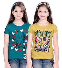SINIMINI GIRLS FASHIONABLE TOP ( PACK OF 2 )-SMH600_TBLUE_LYELLOW