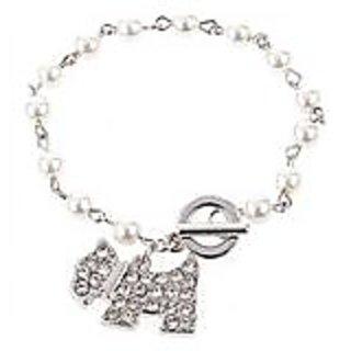 Pearls  Rhinestones Decorated Bracelet Brace Lace Bangle with Dog Pendant