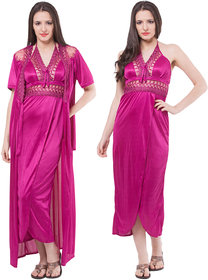 Fasense Stylish Women Satin Wine Nightwear (2 Pcs Set)