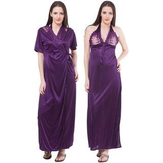 Fasense Exclusive Women Satin Purple Nightwear (2 Pcs Set)