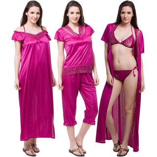 Buy Fasense Stylish Women Satin Wine Nightwear (6 Pcs Set) Online ... 5a5c9a4a5