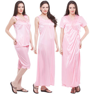 Buy Fasense Exclusive Women Satin Baby Pink Nightwear 4 Pcs Set ... d7acd51e1