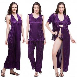 Buy Fasense Nice Women Satin Purple Nightwear (6 Pcs Set) Online ... 6103f03aa